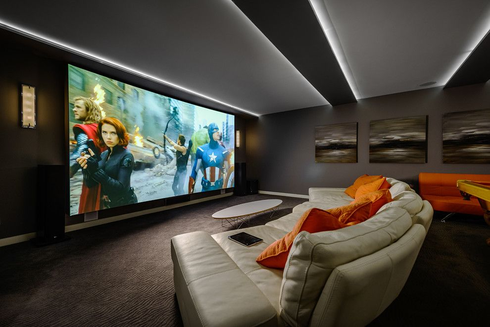 Southlake Movie Theater for a Contemporary Home Theater with a Contemporary and Dwell on Despard by Joshua Lawrence Studios Inc