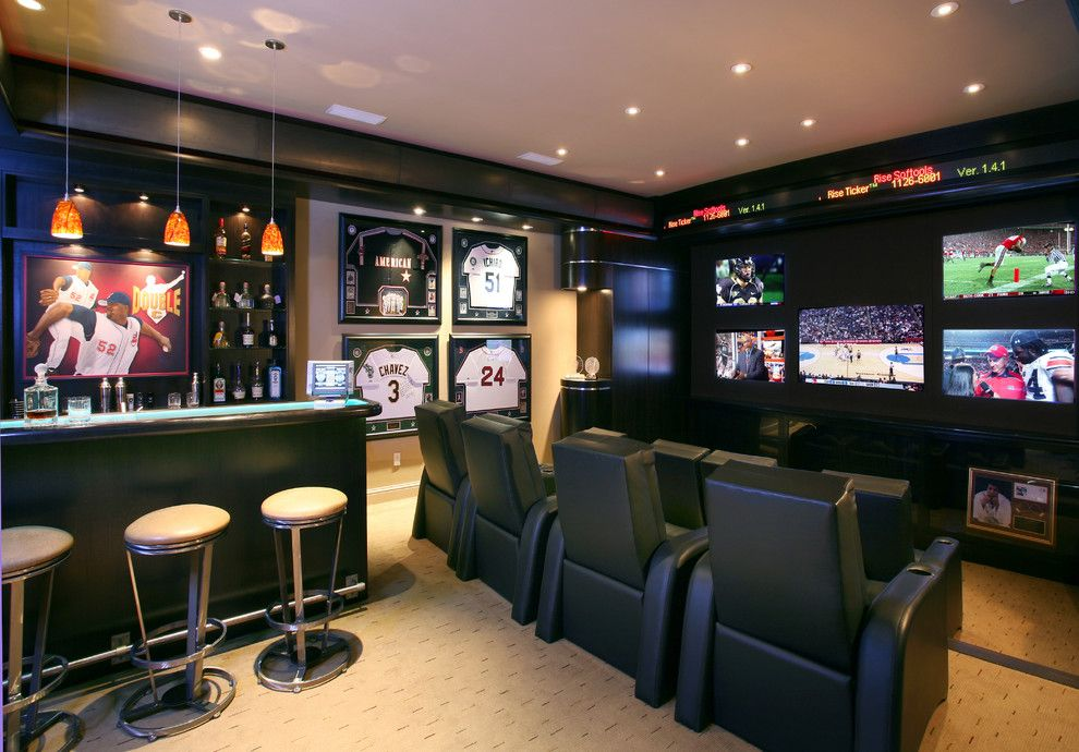 Southlake Movie Theater for a Contemporary Home Theater with a Painted Ceiling and Sabathia by Sight and Sounds