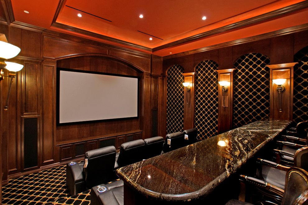 Southlake Movie Theater for a Mediterranean Home Theater with a Tray Ceiling and Mediterranean Home Theater by Lvpas.com