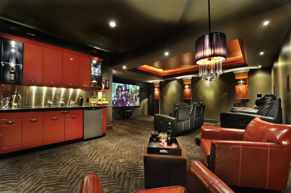 Southridge Movie Theater for a Contemporary Home Theater with a Black Ceiling and Private Residence6 by Greystokes Millwork Ltd.