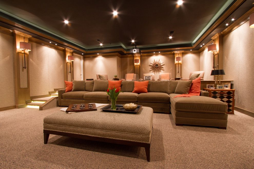Southridge Movie Theater for a Contemporary Home Theater with a Orange Accent Pillows and Bringing the Movies Home by Bethesda Systems