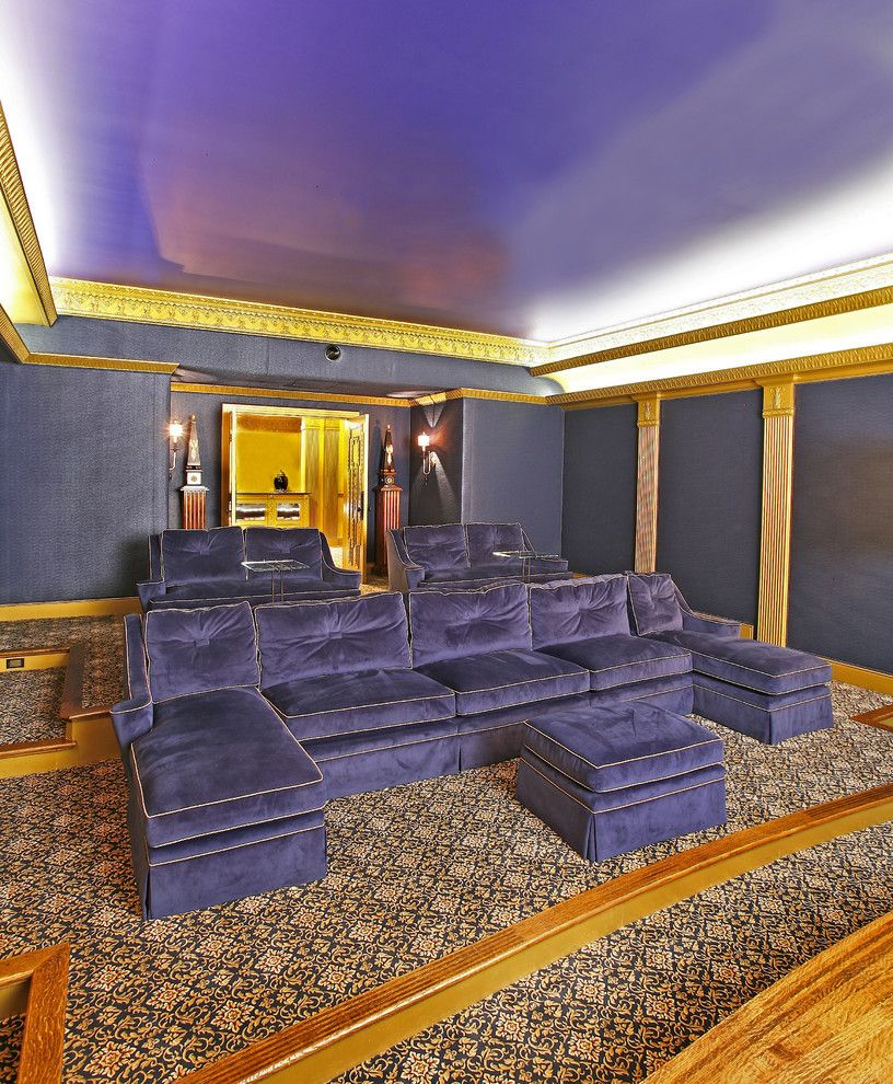 Southridge Movie Theater for a Eclectic Home Theater with a Carved Wood and Media Room by Rsvp Design Services