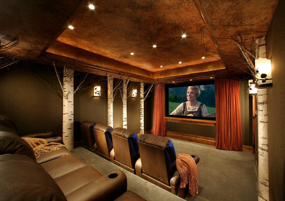 Southridge Movie Theater for a Traditional Home Theater with a Mountain and Mountain Formal by Sesshu Design Associates, Ltd