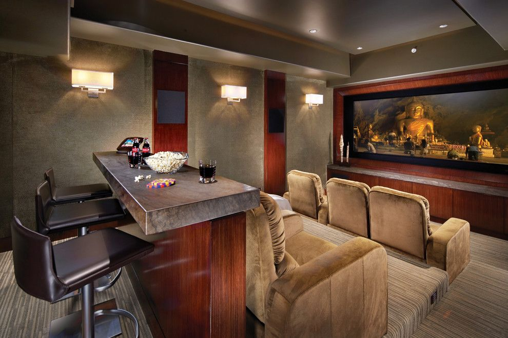 Southridge Movie Theater for a Tropical Home Theater with a Carpeted Wall and Contemporary Style in Laguna Beach, California by Wendi Young Design