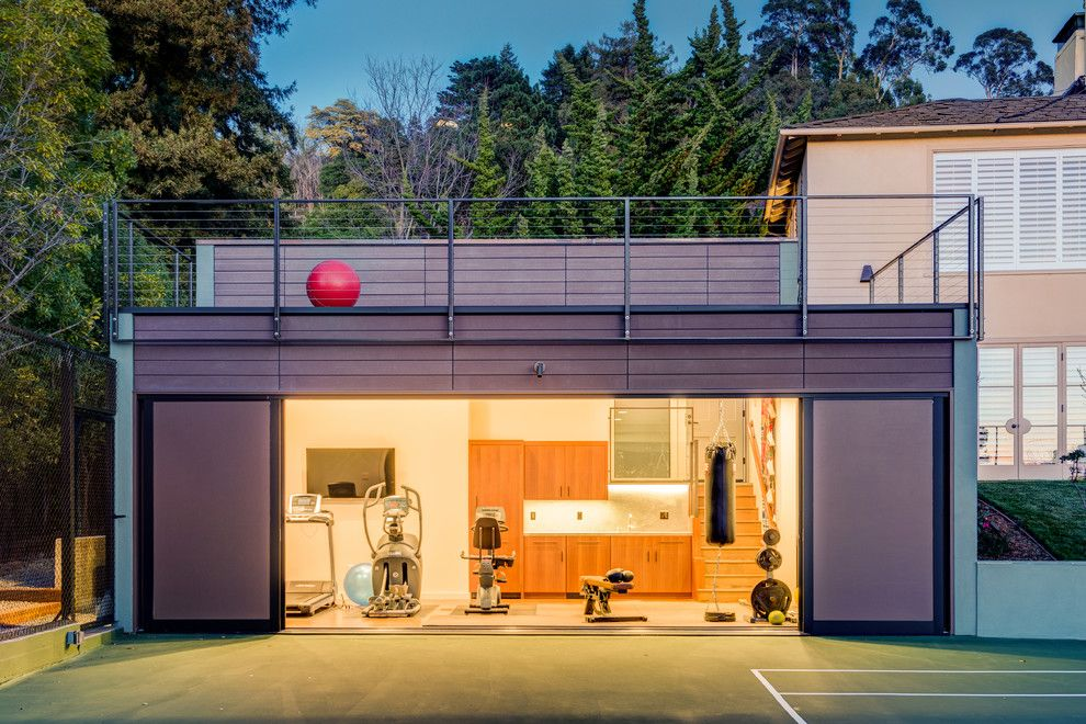 Southridge Theater for a Contemporary Home Gym with a Party Cabana and Modern Gym in Piedmont   Accessory Building by Studio Bergtraun Aia