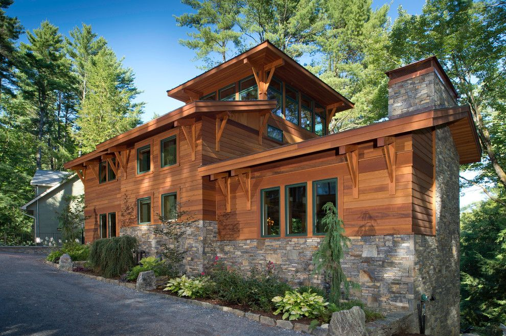 Space Oddity Album for a Modern Exterior with a Stonework and Lake Luzerne House by Phinney Design Group