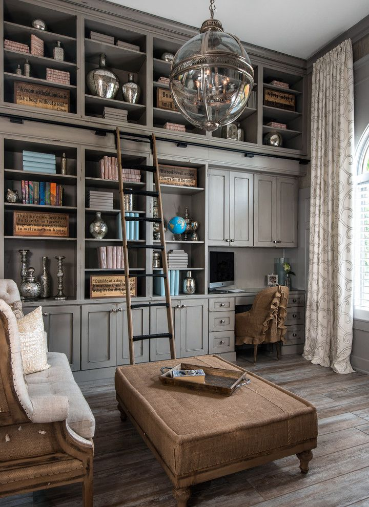 Space Oddity Album for a Traditional Home Office with a Bookcase and Brookside by Kate Benjamin Photography Llc