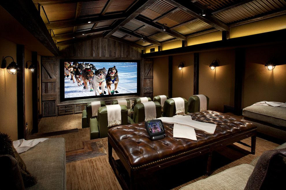 Spanish Fork Theater for a Mediterranean Home Theater with a Mediterranean and Sampling of Our Work by Est Est, Inc.
