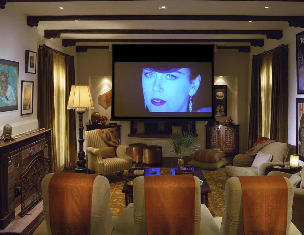 Spanish Fork Theater for a Mediterranean Home Theater with a Recessed Lighting and Mediterranean Classic by Tommy Chambers Interiors, Inc.