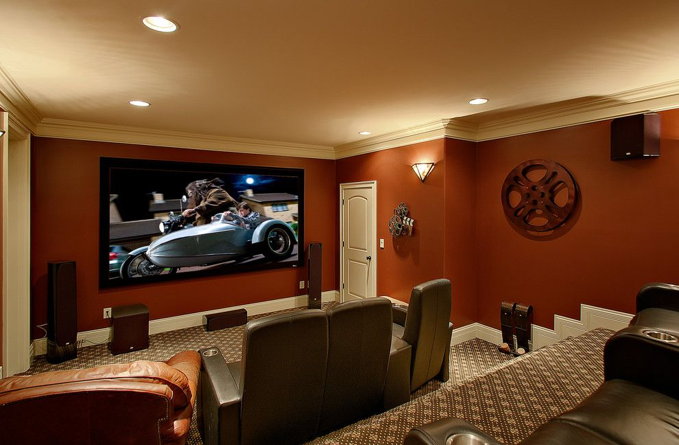 Spanish Fork Theater for a Traditional Home Theater with a Beige Ceiling and Home Theater by Iss Llc