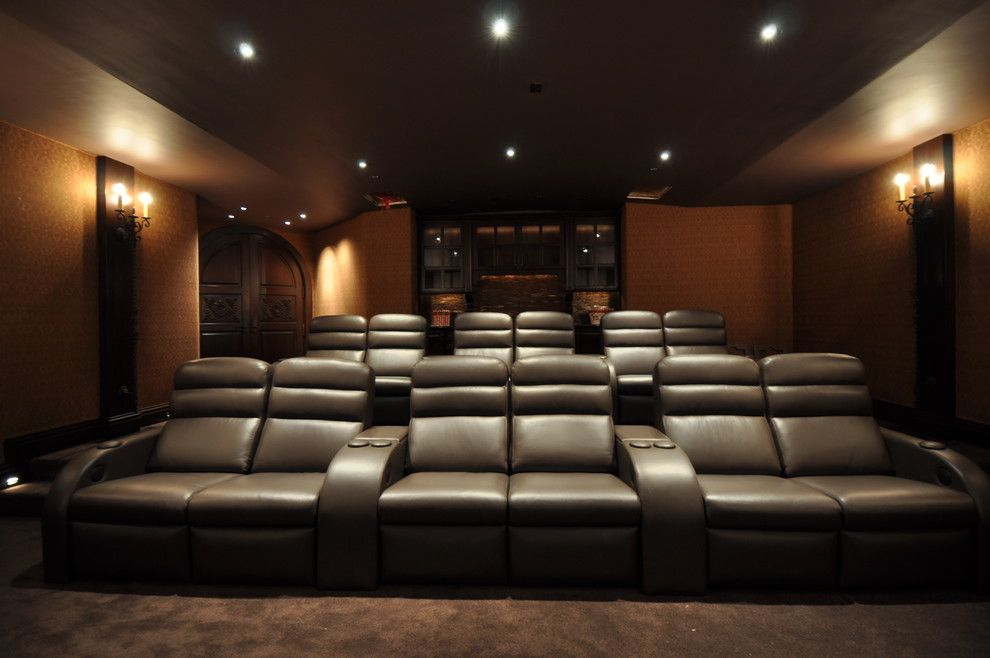 Spanish Fork Theater for a Traditional Home Theater with a Mediterranean and Joni Koenig Interiors by Joni Koenig Interiors