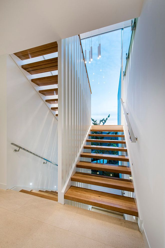 Sparkle Pools for a Modern Staircase with a Cambuild and City Beach by Cambuild