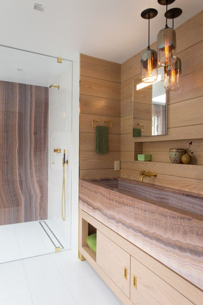 Spca New Orleans for a Contemporary Bathroom with a Slatted Wood and Chappaqua
