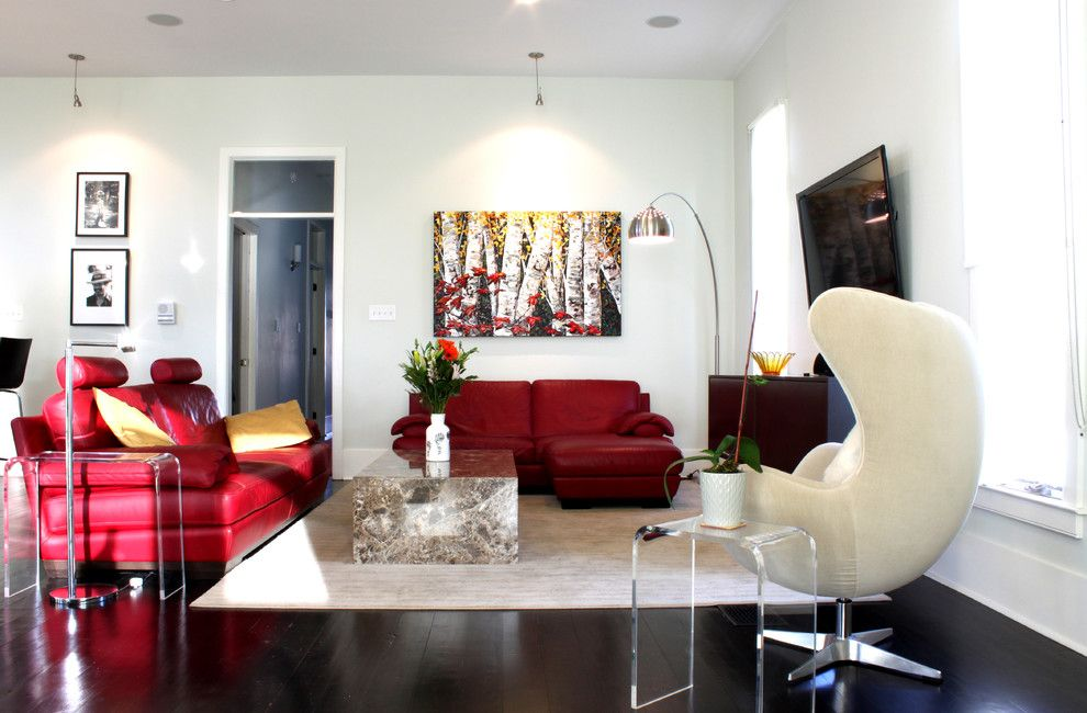 Spca New Orleans for a Contemporary Living Room with a Red Sofa and Bayou St. John, New Orleans by Adam Breaux