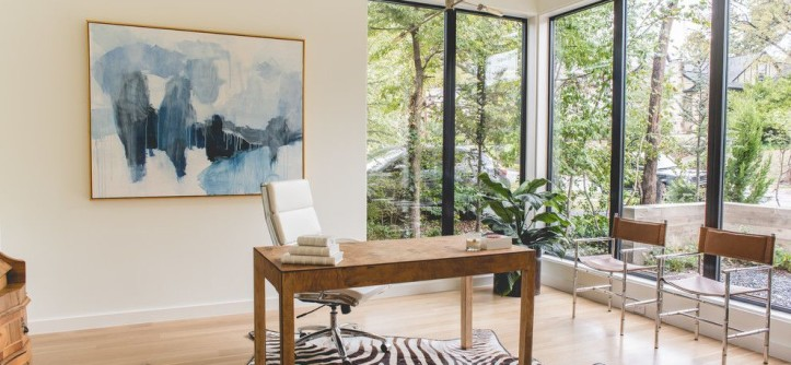 Specialty Coating Systems for a Contemporary Home Office with a Large Windows and Pasadena | 2015 by Coats Homes
