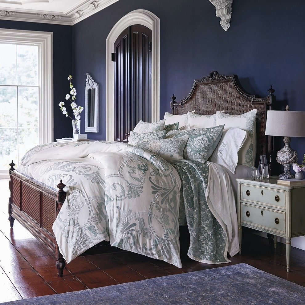 Spectra Contract Flooring for a Traditional Bedroom with a Navy Blue Walls and Frontgate by FRONTGATE