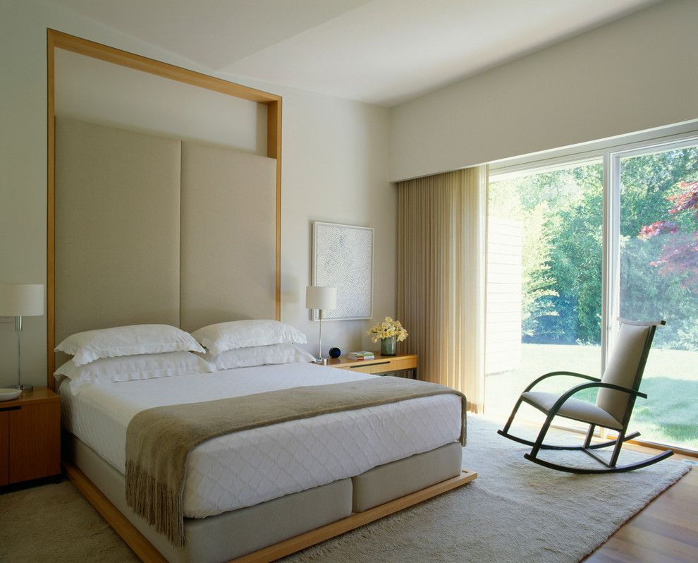 Spring Cleaning Checklist for a Contemporary Bedroom with a Beige Rocking Chair and Marin County Residence by Dirk Denison Architects