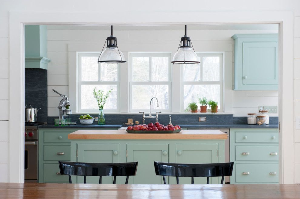 Spring Window Fashions for a Farmhouse Kitchen with a Dining Chairs and Kitchen Renovation by Rafe Churchill: Traditional Houses