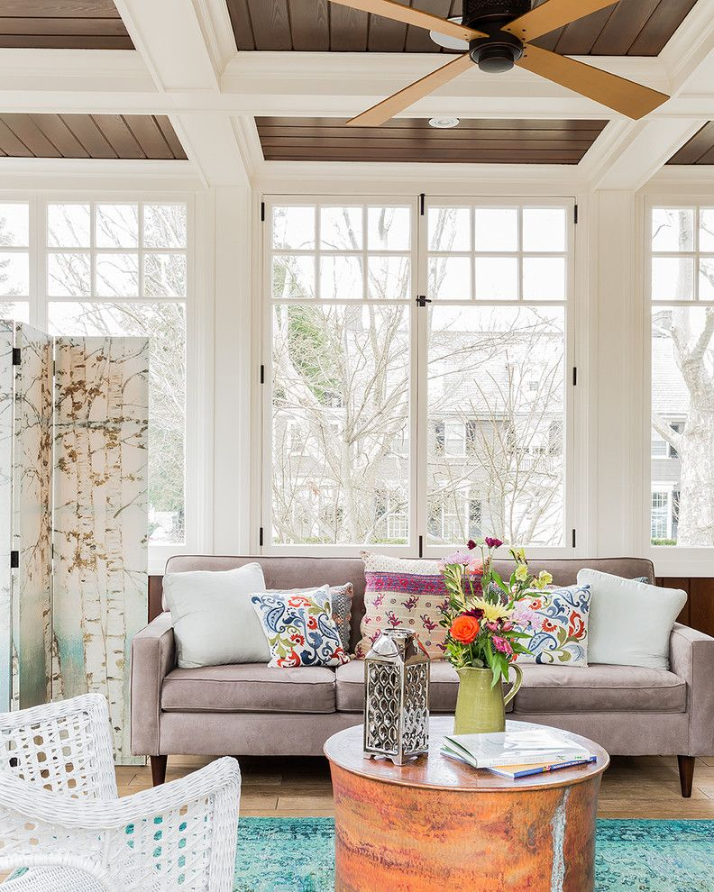 Spring Window Fashions for a Shabby Chic Style Porch with a Wood Floor and Brookline Restoration by Disipio Building Group, Inc.