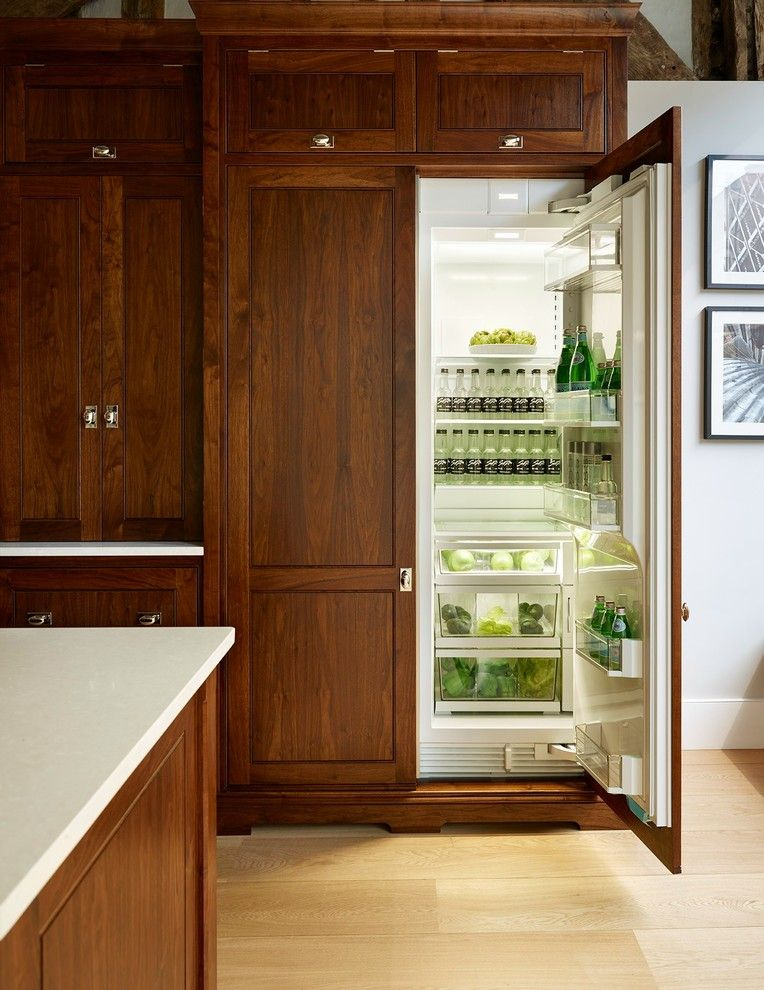 St Albans Mo for a Transitional Kitchen with a Fridge and Luxury Bespoke Family Kitchen   St. Albans Showroom by Humphrey Munson