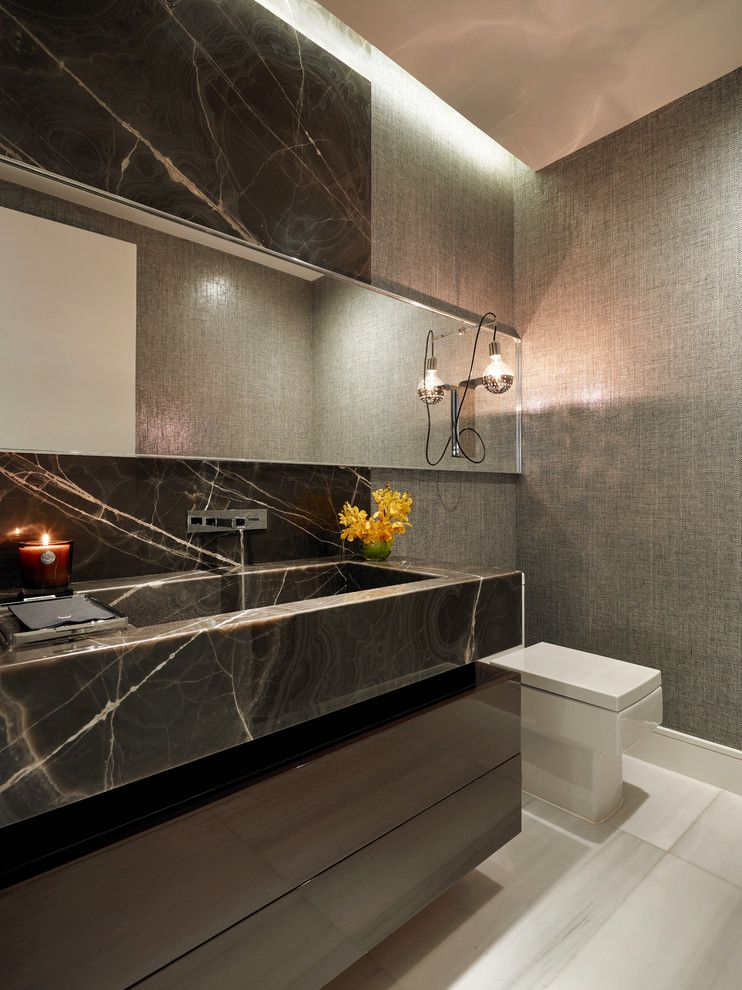 St Croix Theater for a Contemporary Powder Room with a Grey Wallpaper and St. Regis Bal Harbour Residence by B+G Design Inc.