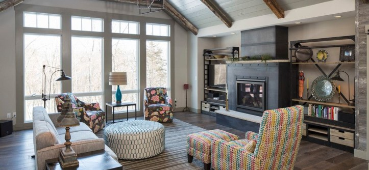 St Croix Theater for a Rustic Family Room with a Painted Paneled Ceiling and St Croix Trail by Hartman Homes