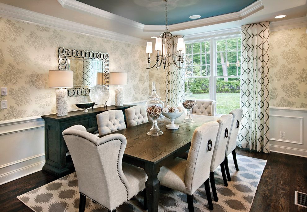 St Germain Furniture for a Transitional Dining Room with a Blue and River Ridge   Southwick by Mary Cook