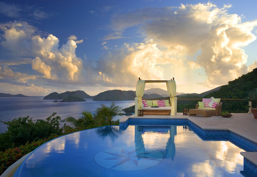 St Germain Furniture for a Tropical Pool with a Decorative Pillows and Hawksview, St. John, Usvi by Dan Forer, Photographer