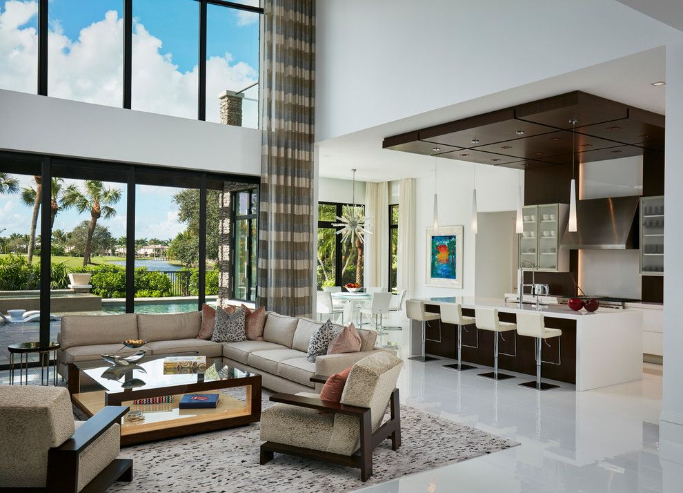 St Marlo Country Club for a Contemporary Living Room with a Gray Sectional Sofa and Private Residence, St. Andrew's Country Club, Boca Raton, Fl by Susan Lachance Interior Design