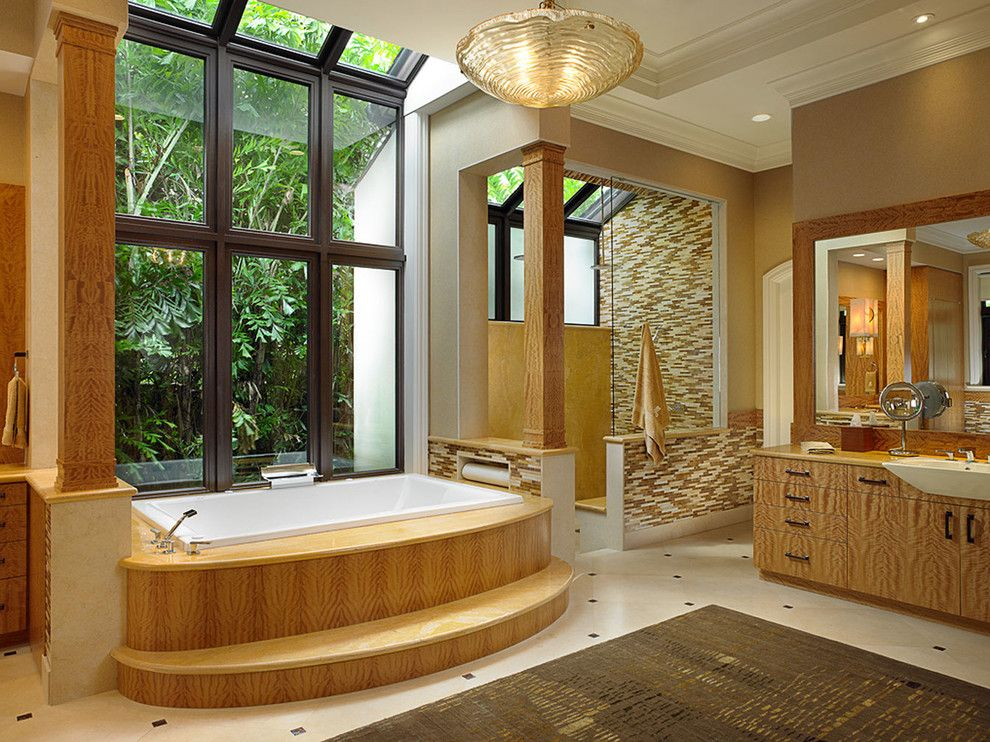 St Marlo Country Club for a Mediterranean Bathroom with a Floor to Ceiling Window and Luxurious Living in the Heart of St. Andrews Country Club by Shuster Design Associates