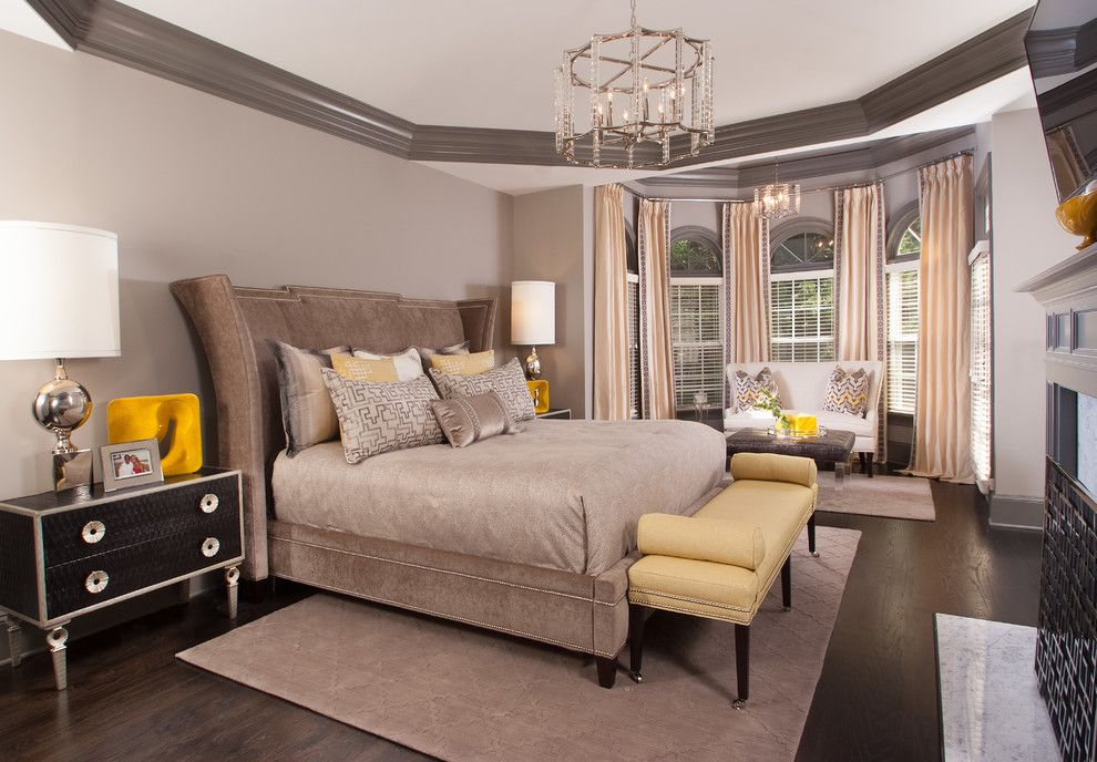 St Marlo Country Club for a Transitional Bedroom with a Brown and Yellow Bedroom and St. Ives Country Club Estates by Decorating Den Interiors   the Sisters & Company