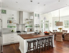 Stainless Steel vs Nonstick for a Beach Style Kitchen with a Windows and Amy Trowman Sullivans Beach House No. 3 by Matthew Bolt Graphic Design