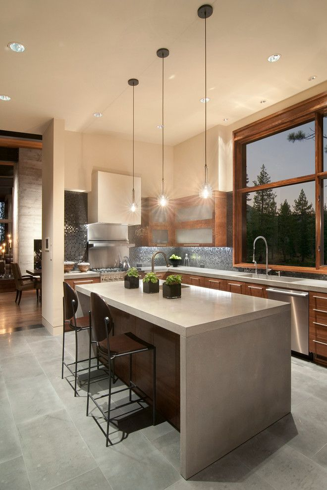Stainless Steel vs Nonstick for a Contemporary Kitchen with a Picture Window and Martis Camp Contemporary by Ward Young Architecture & Planning   Truckee, Ca