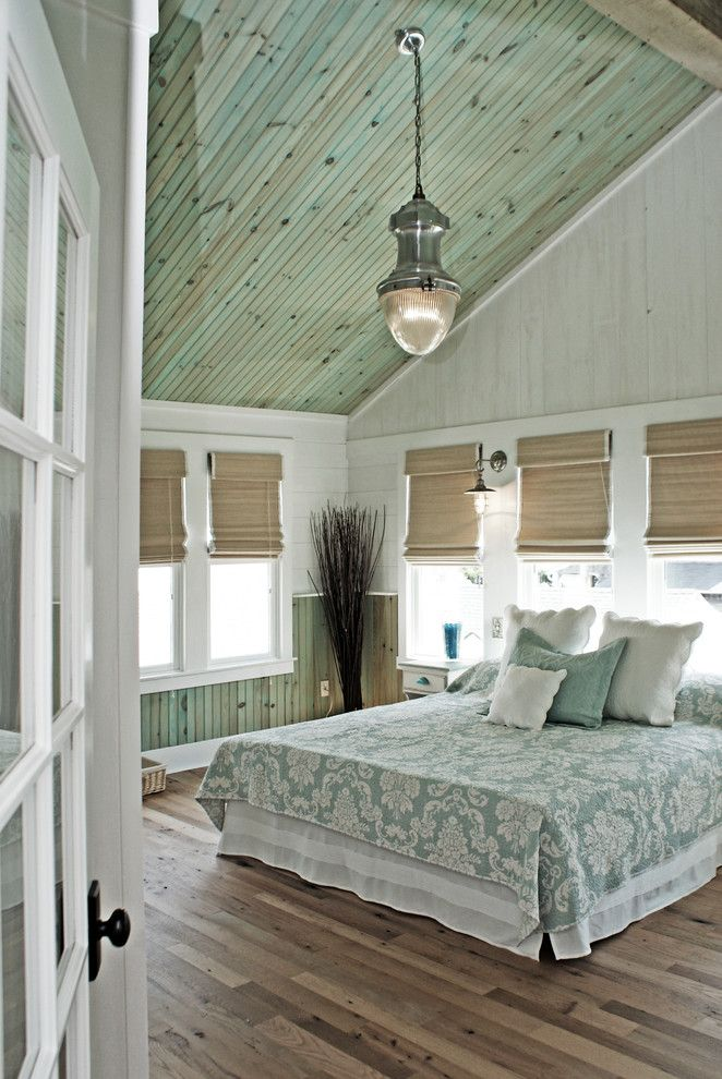 Stampin Pretty for a Beach Style Bedroom with a Paneled Ceiling and Ultimate Beach House by Outindesign