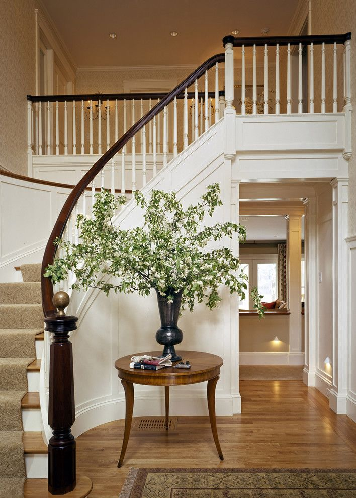 Stampin Pretty for a Traditional Staircase with a Curved Staircase and Lake House by Siemasko + Verbridge