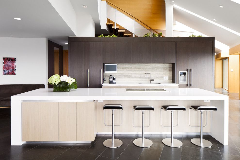 Standard Bar Stool Height for a Contemporary Kitchen with a Dark Floor and North Van Renvovation by Natural Balance Home Builders