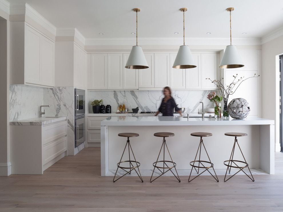 Standard Bar Stool Height for a Contemporary Kitchen with a Off White Walls and Greenwich Street by Jeff Schlarb Design
