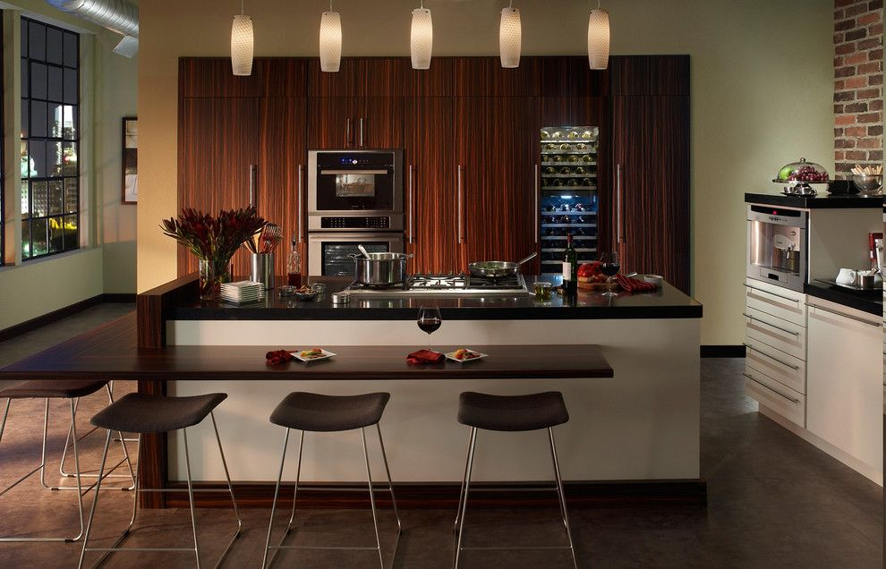 Standard Bar Stool Height for a Modern Kitchen with a Wine Refrigerator and Thermador by Thermador Home Appliances