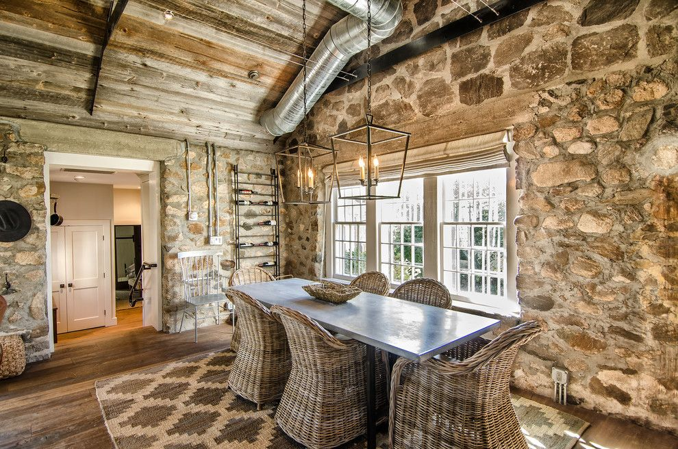 Standard Plumbing Utah for a Farmhouse Dining Room with a Rustic Wood Floor and Redding Cottage and Barn by Blansfield Builders, Inc.