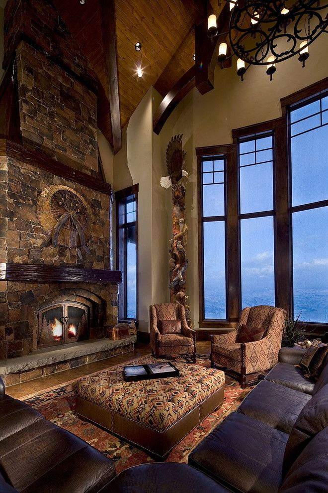 Standard Plumbing Utah for a Rustic Living Room with a Round Chandelier and Projects by Mitch Allen Photography