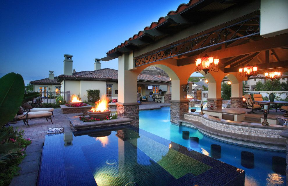 Star Trek Deep Space Nine Cast for a Mediterranean Pool with a Solid Roof Patio Cover and Five Star Fabulous by Green Scene Landscaping & Pools