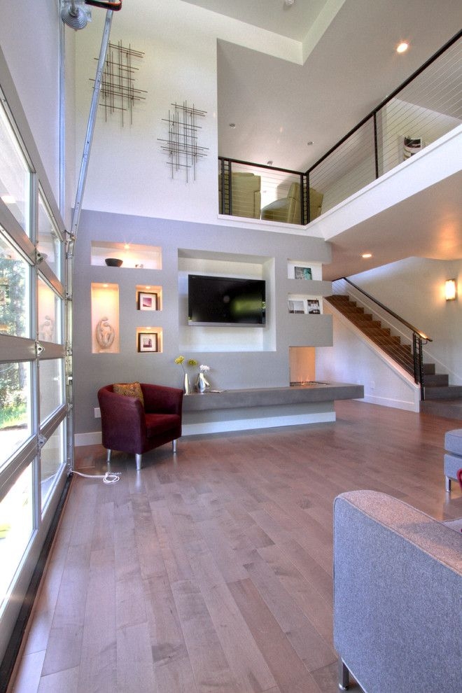 Star Trek Deep Space Nine Cast for a Modern Family Room with a Abstract and Urban Cosmopolitan Great Room with Ethanol Fireplace by Jordan Iverson Signature Homes