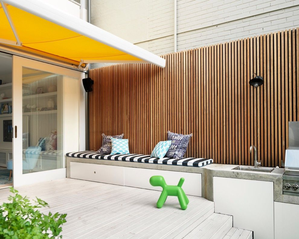 Stash Furniture for a Contemporary Deck with a Seat Cushions and Luigi Rosselli Architects   Paddington Terrace House by Luigi Rosselli Architects