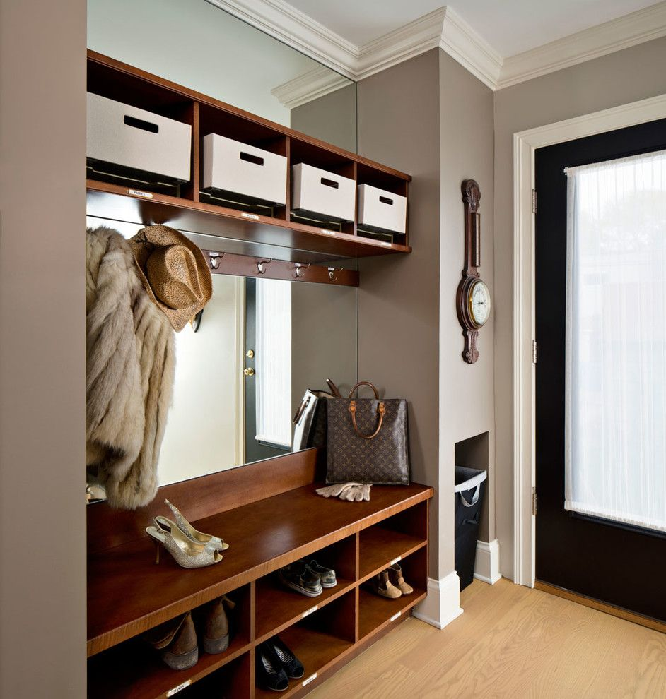 Stash Furniture for a Transitional Entry with a Wall Clock and Hollywood Regency Residence by Inspired Interiors