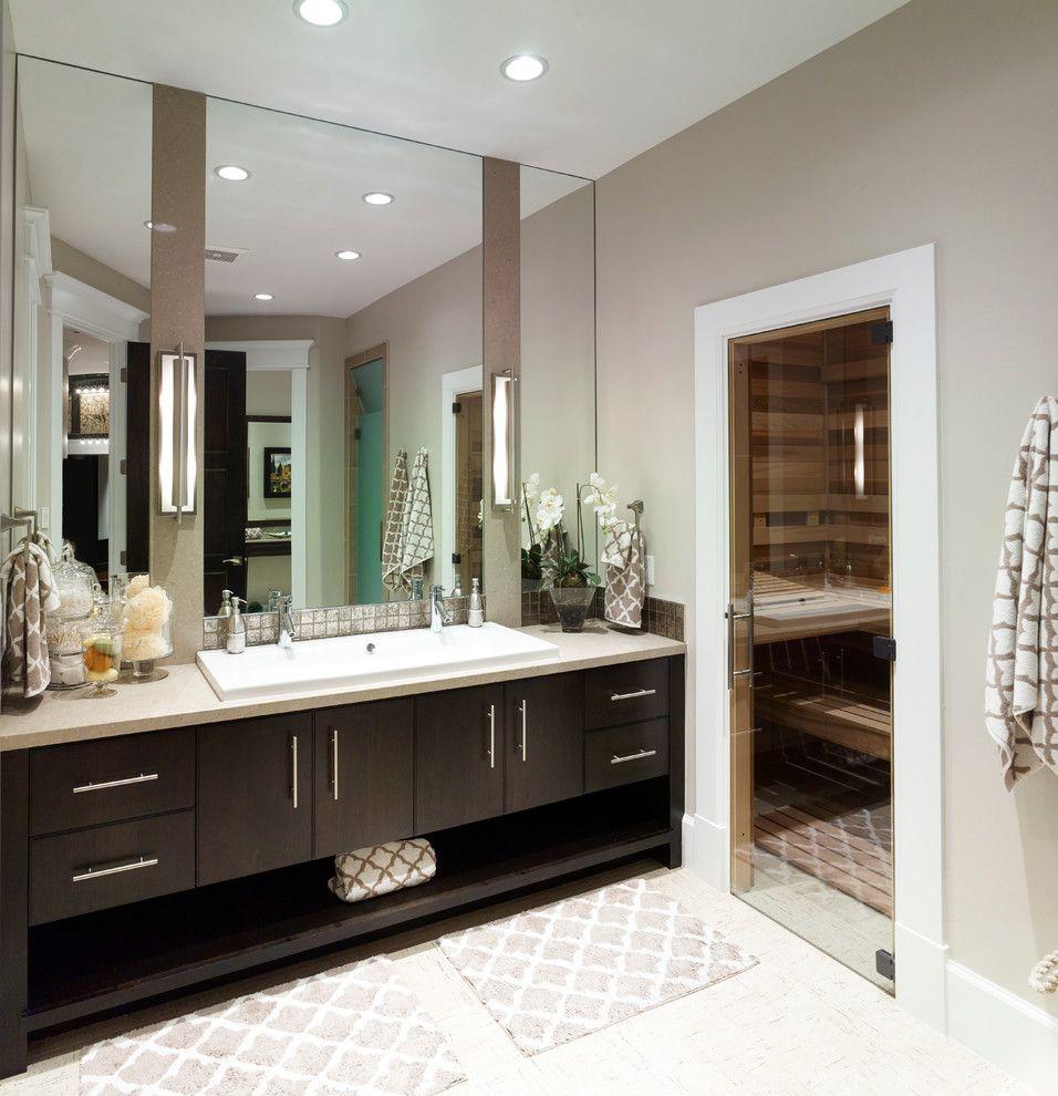 Steam Room vs Sauna for a Transitional Bathroom with a Pool House and 2014 Parade Home   Alpine by Joe Carrick Design   Custom Home Design