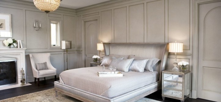Stiles Construction for a Transitional Bedroom with a Mirrored Bedside Chest and Lake Residence by Linda McDougald Design   Postcard From Paris Home