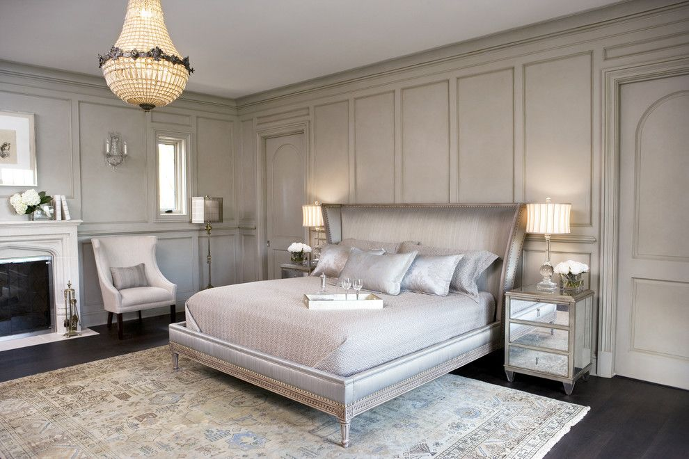 Stiles Construction for a Transitional Bedroom with a Mirrored Bedside Chest and Lake Residence by Linda McDougald Design | Postcard From Paris Home
