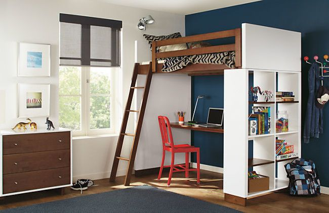 Stilnovo for a Contemporary Kids with a Bookcase and Moda Loft Bed with Desk in Mocha by R&b by Room & Board