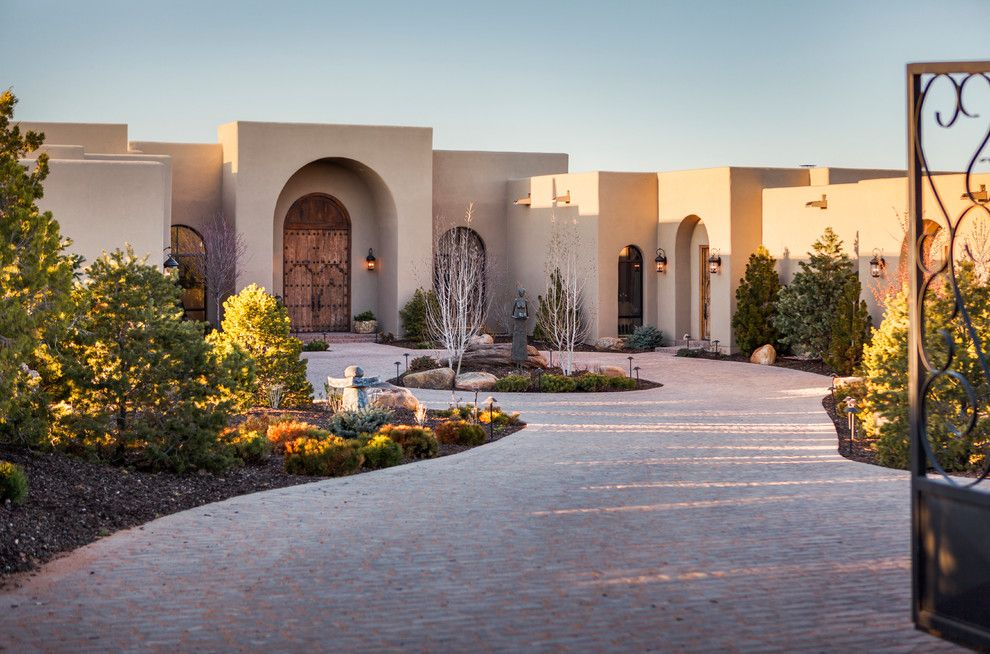 Sto Stucco for a Mediterranean Exterior with a Outdoor Pathlights and Santa Fe Opera by K. M. Skelly, Inc