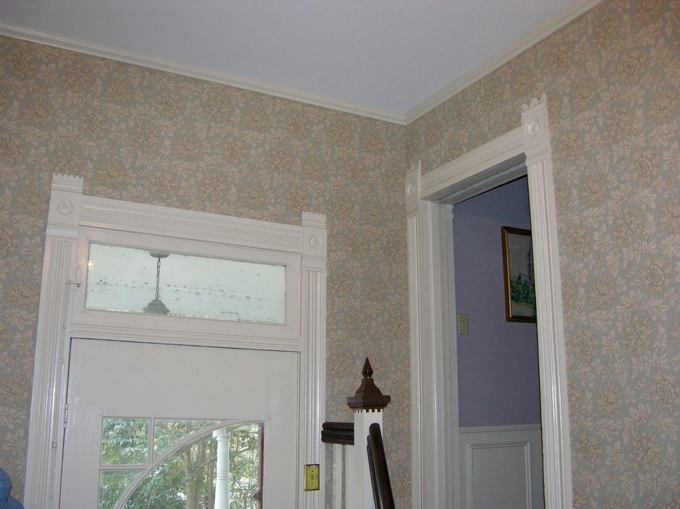 Stroheim for a Midcentury Entry with a Entry and Entry Hall with Flower Fabric Wall by V.E. THOMAN